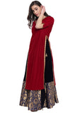 Velvet Embellished High Slits Lehenga Set
