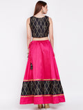 Dupion Hand Block Printed Panelled Lehenga Set