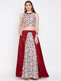 Dupion Hand Block Printed Layered Lehenga Set