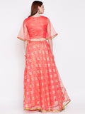 Organza Abstract Foil Printed Lehenga Set