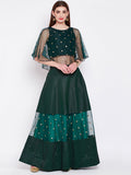 Dupion & Net Sequins Embroidered Panelled Lehenga Set