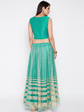 Net Sequins Embroidered Kalidaar Lehenga Set