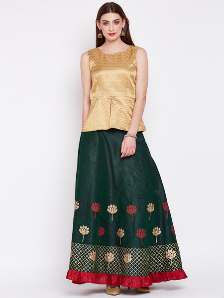 Dupion Hand Block Printed Tiered Lehenga Set