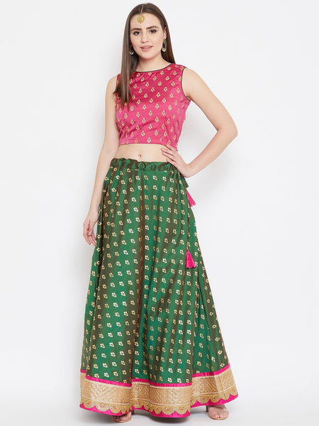 Silk Rubber Printed Embellished Lehenga Set