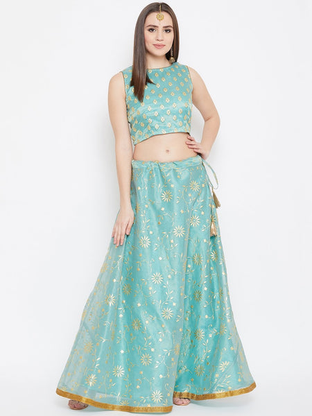 Tissue Rubber Printed Lehenga Set