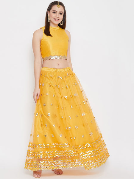 Net Sequin Embroidered Lehenga Set