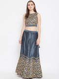 Dupion Embroidered Scallop Lehenga Set
