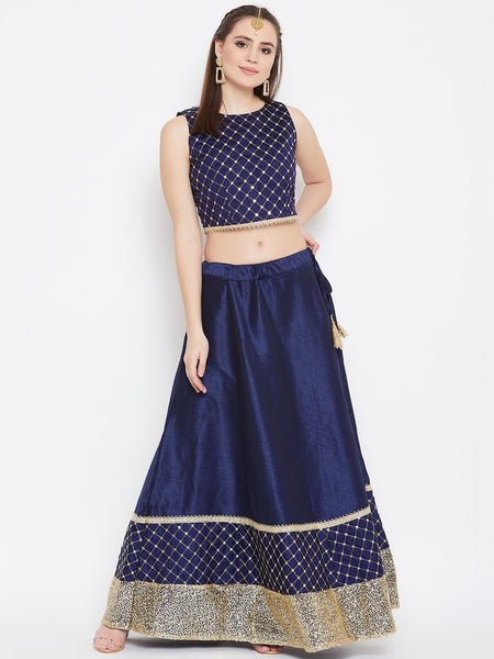 Dupion Embroidered Embellished Lehenga Set