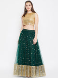 Net Sequin Embellished Gathered Lehenga Set