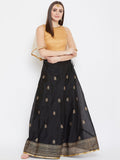 Chanderi Block Printed Lehenga Set