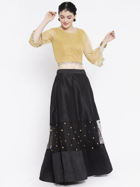 Dupion & Net Sequin Embroidered Panelled Lehenga Set