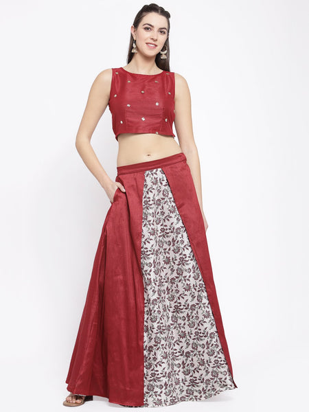 Dupion Block Printed Layered Lehenga Set