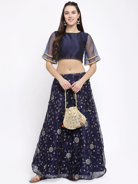 Organza Sequin Embroidered Bias Lehenga Set