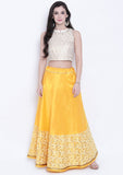 Semi Dupion Block Printed Half and Half Lehenga Set