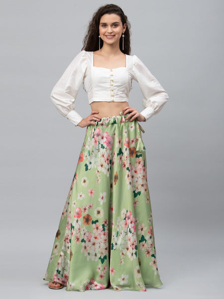 Satin Floral Printed Bias Lehenga Set