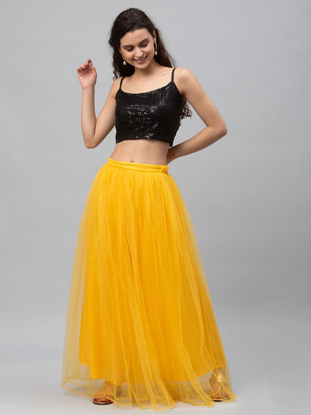 Net Gathered Lehenga Set