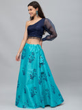 Dupion Block Printed Bias Lehenga Set