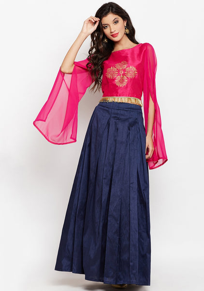 Semi-Dupion Box Pleated Lehenga Set