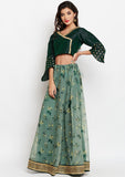Organza Printed Embellished Border Lehenga Set