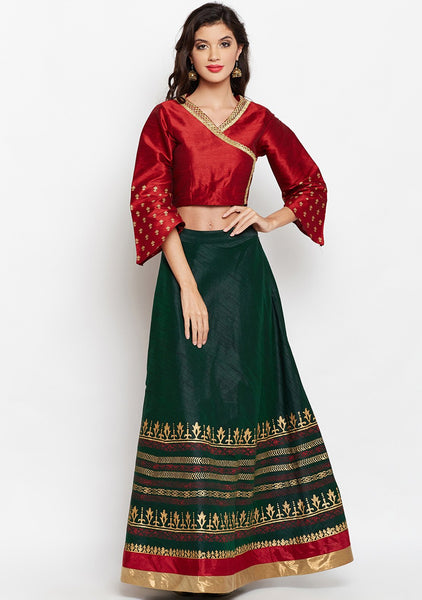 Semi-Dupion Block Printed Lehenga Set