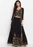 Georgette Block Printed Embroidered Lehenga Set