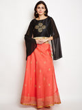 Faux Chanderi Block Printed Lehenga Set