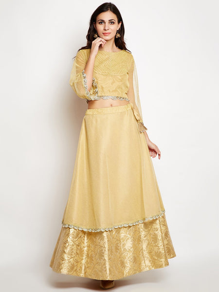 Chanderi Brocade & Net Overlay Embellished Lehenga Set