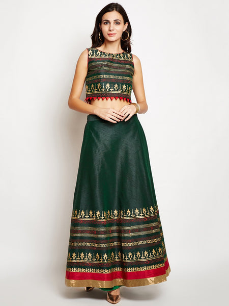 Semi-Dupion Block Printed Bias Lehenga Set