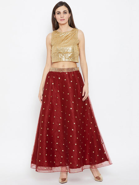 Net Sequins Embroidered Lehenga Set