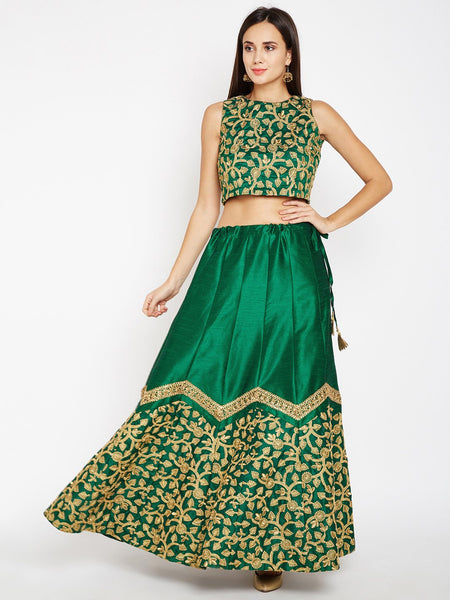 Semi Dupion Embroidered Scallop Lehenga Set