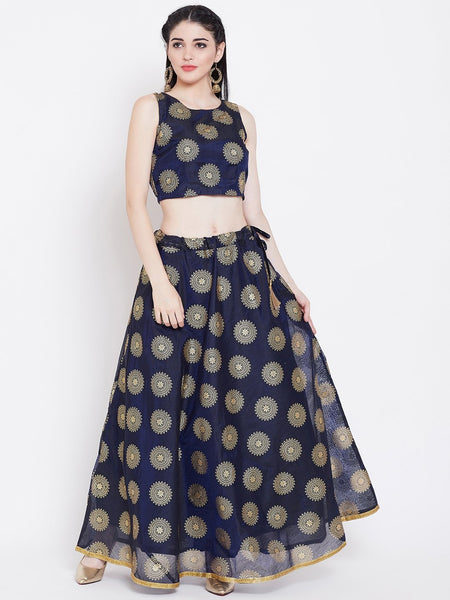 Chanderi Foil Printed Lehenga Set