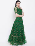 Net Floral Embroidered  Embellished Tiered Lehenga Set
