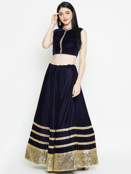 Velvet and Sequin Embellished Bias Lehenga Skirt