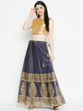 Kota Zari Hand Block Printed Embroidered Lehenga Set