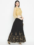Georegtte Hand Block Printed Embroidered Lehenga Set