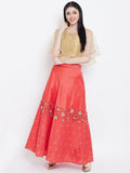 Dupion Net Embroidered Half and Half Lehenga Set