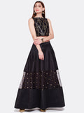 Dupion & Net Sequins Embroidered Lehenga Set