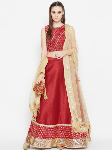 Dupion Embellished Bias Lehenga Set