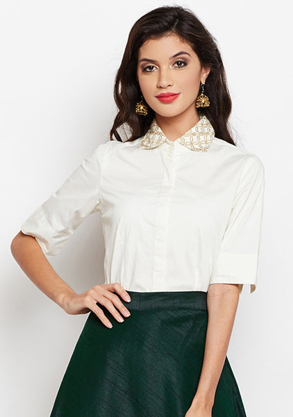 Cotton Silk Lycra Embroidered Shirt