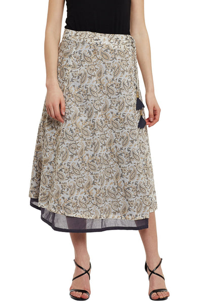 Cotton Malmal Block Printed Reversible Wraparound