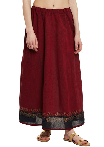 Cotton Mangalgiri Block Printed Panelled Skirt