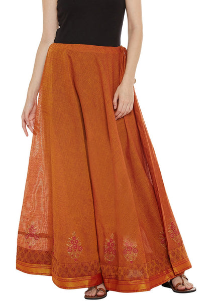 Cotton Mangalgiri Block Printed Skirt