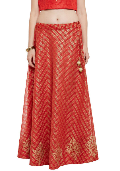 Faux Chanderi Checks Block Printed Skirt