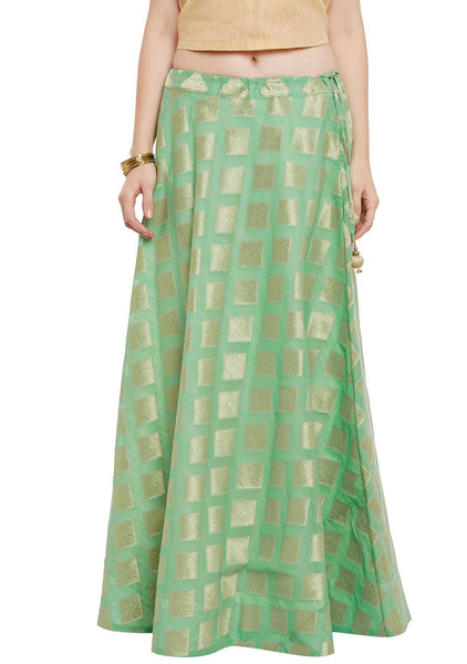 Faux Chanderi Zari Boota Skirt