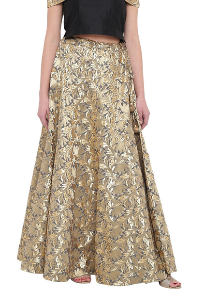 Faux Chanderi Brocade Kalidaar Skirt