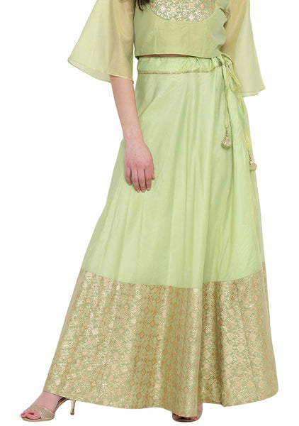Faux Chanderi Brocade Half and Half Skirt