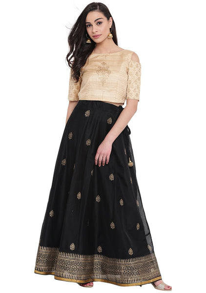 Faux Chanderi Hand Block Printed Skirt