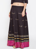 Cotton Poplin & Brocade Hand Block Printed Skirt