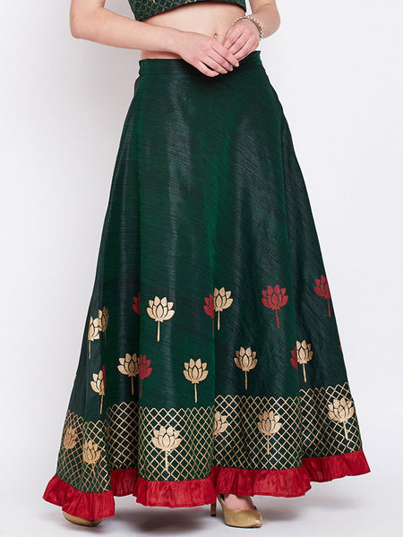 Dupion Hand Block Printed Tiered Skirt