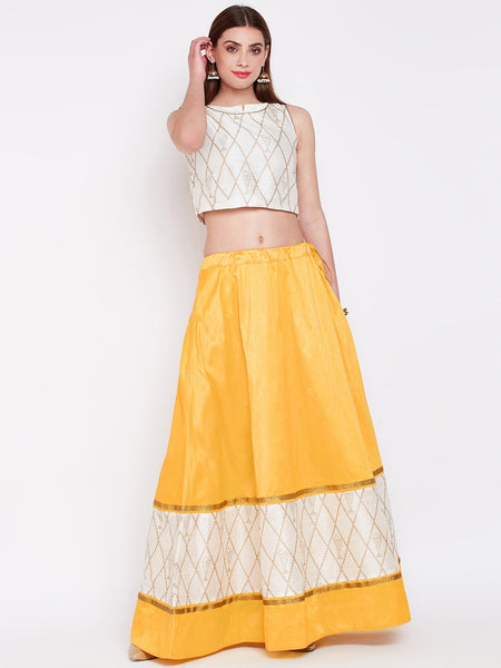 Dupion Hand Block Printed Panelled Skirt